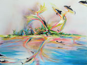 Tropical painting of orca whales ascending from the ocean into space