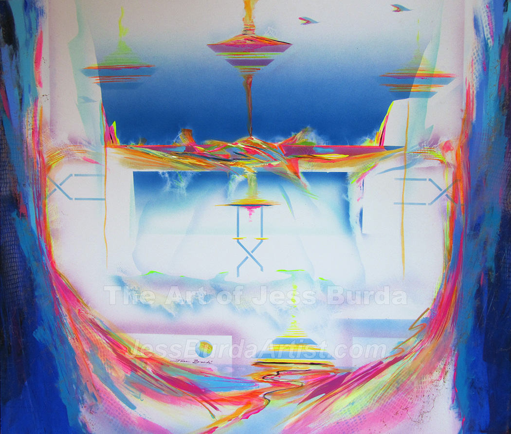 Impression painting of a secret extraterrestrial homeland in neon colors