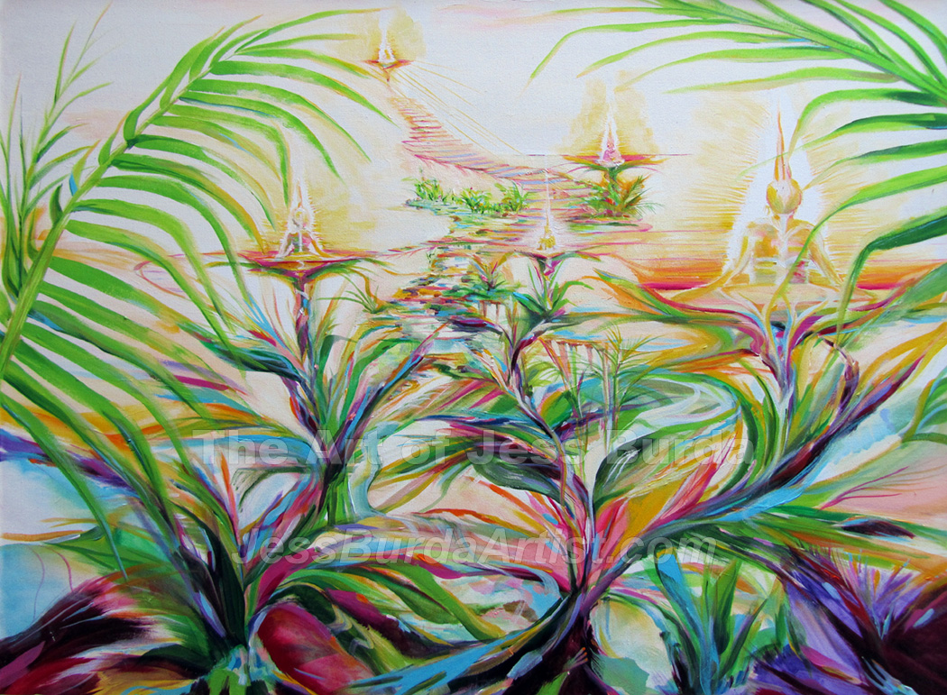 Painting of the guardians of earth spreading etheric light through a tropical forest