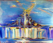 Impression painting of mother earth rising to create landing sites for space vehicles