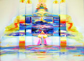 Impression painting of a dreamy, multi-dimensional locale depicting Nirvana