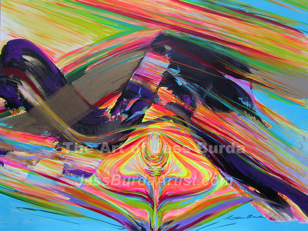 Abstract painting, a silhouette of Divine Mother in the core the earth