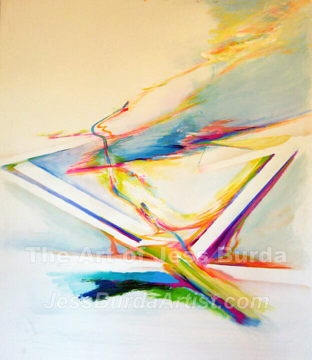 Abstract painting of a  female engaged in inter-dimensional travel through triangular shapes
