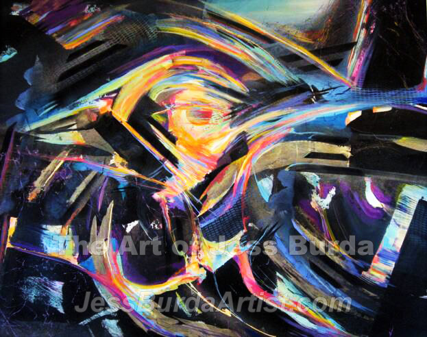 Abstract painting of spiraling light, colors and shapes that draw you into the center sphere