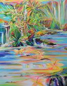 Tropical landscape painting of earth guardian blessing multi-dimesional realms