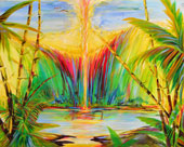 Tropical lake with bamboo and light vortex from top