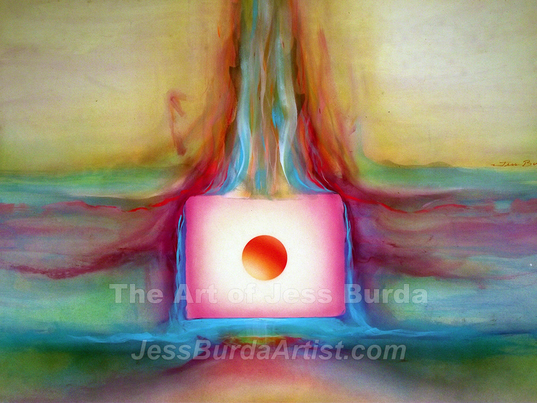 Abstract painting of a sphere in a cube that is untouched by the surrounding fluid environment