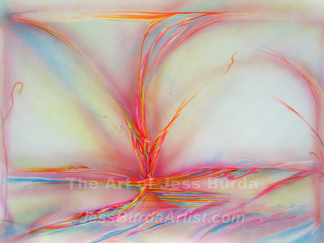 Impression painting of an angel of light angel materializing appearing in etheric threads