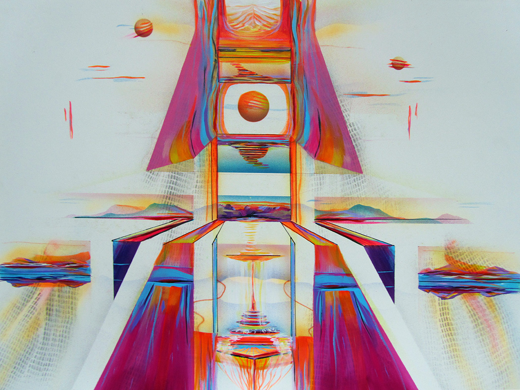 Impression painting of time travel into a futuristic setting of spheres and vortices