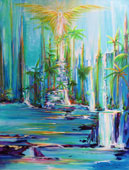 Shades of Blue dominate with waterfalls, rocks, palm trees and an Angel with spread wings in the upper center