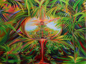 Tropical forest painting of shamanic ceremonial journey