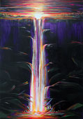 Tropical painting of the healing power in a long colorful, fluorescent waterfall