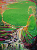 Tropical painting earth, sky and man merge with a waterway as he meditates on oneness with the Divine