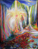 Tropical painting of a sacred ceremony in a vibrant garden setting