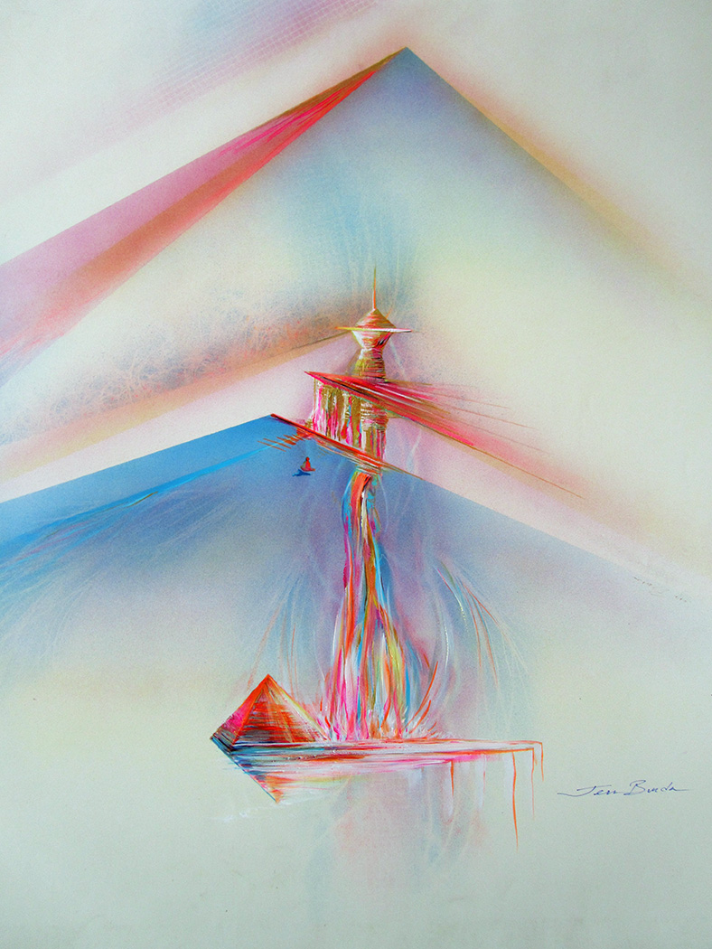 Impression painting of a devotee meditating in front of a sacred temple below  a pyramid