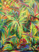 Tropical painting of vibrantly colored, thick jungle foliage.