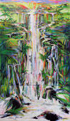 Painting filled with multiple, tropical waterfalls inspired by the Hamakua coast on the Big Island of Hawaii