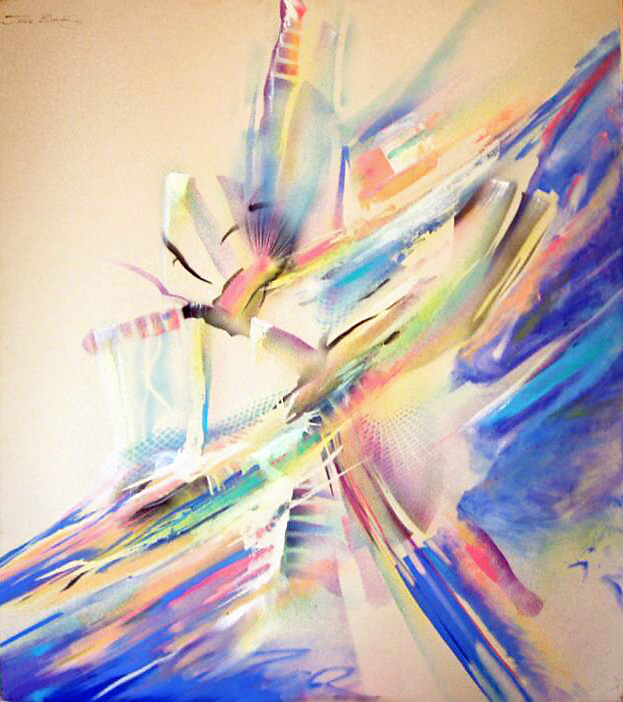 Abstract painting of multi colored shapes breaking away from a mass towards the sky