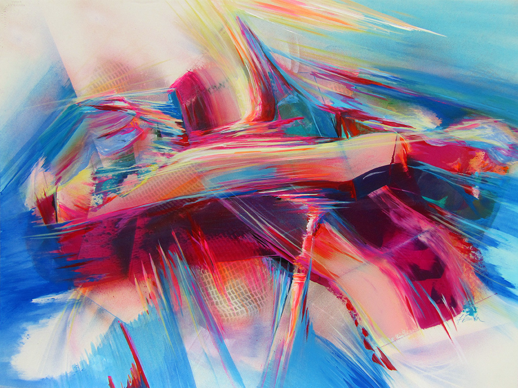 Abstract painting of light refracting in all directions in multiple red and blue tones