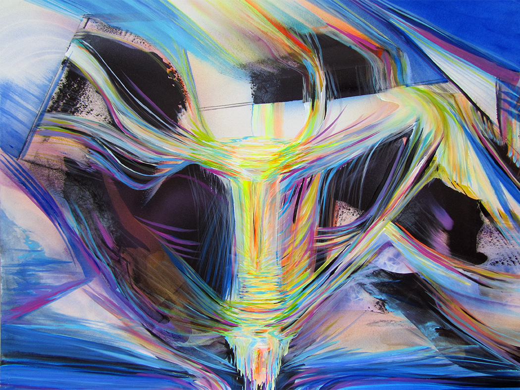 Abstract painting of multicolored light waves flowing in unison from another dimension