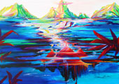 Tropical painting of mother earth's magic with mountains, rivers, waterfalls and pyramids below the water level