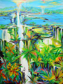 Vibrant tropical foliage, waterfalls, ocean and mountains