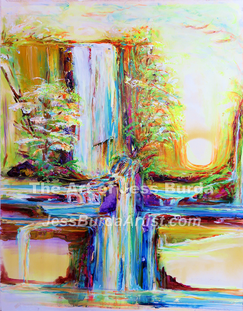 Multilayered waterfalls with light tunnel on right side