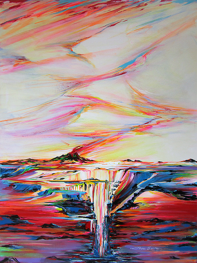 Tropical painting of a volcanic eruption at sunset as the sky melts with earth and sea