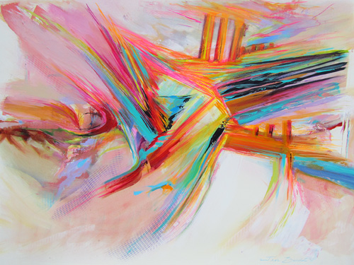 Abstract painting of intermixing, yet independent colors and shapes