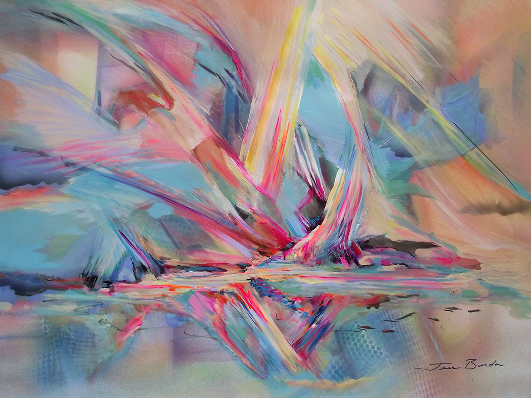 Abstract painting, visions of openings for travel into colorful aurora shapes