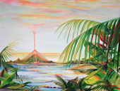 Painting of ancient pyramids overlaying modern volcanoes seen across the tropical ocean