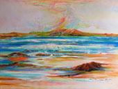 Wind swept mountains above seashore