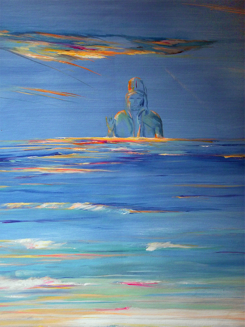 Impression painting, a large ancient spirit rises out of the ocean below a multi-colored sky