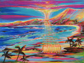 Vibrant sky and landscape with ocean and seven holographic figures