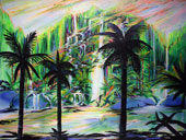 Tropical painting of mountains and waterfalls behind a silhouette of palm trees