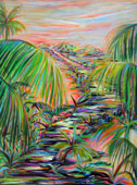 Tropical painting of a multi colored path leading to mountains amidst light, shadows, trees and bushes beneath a colorfu