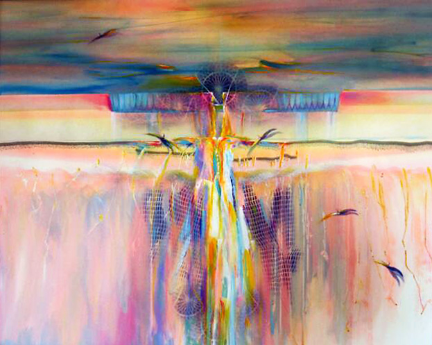 Abstract painting of soft sunrise, sunset, colors in sky, rainbows and earth