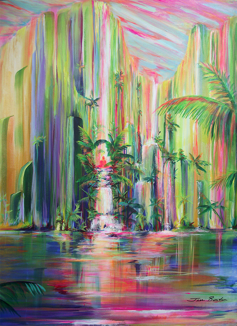 Painting of sheer mountains rising from tranquil water in a tropical setting