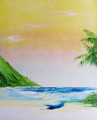 Ocean beach scene mountains on left palm trees on right
