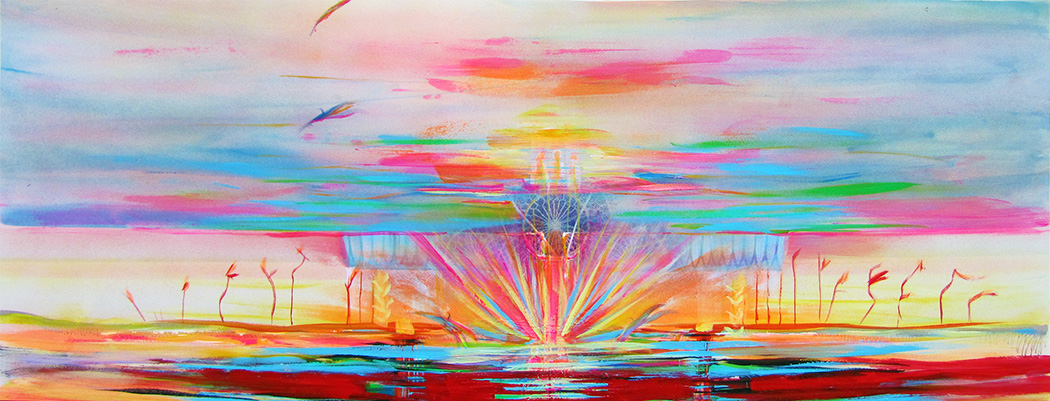 Abstract painting of multi-colored layers from sea to sky representing ascension to a higher level