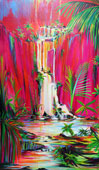 Painting of a dream-like setting in red to yellow colors of waterfalls and tropical palms and plants