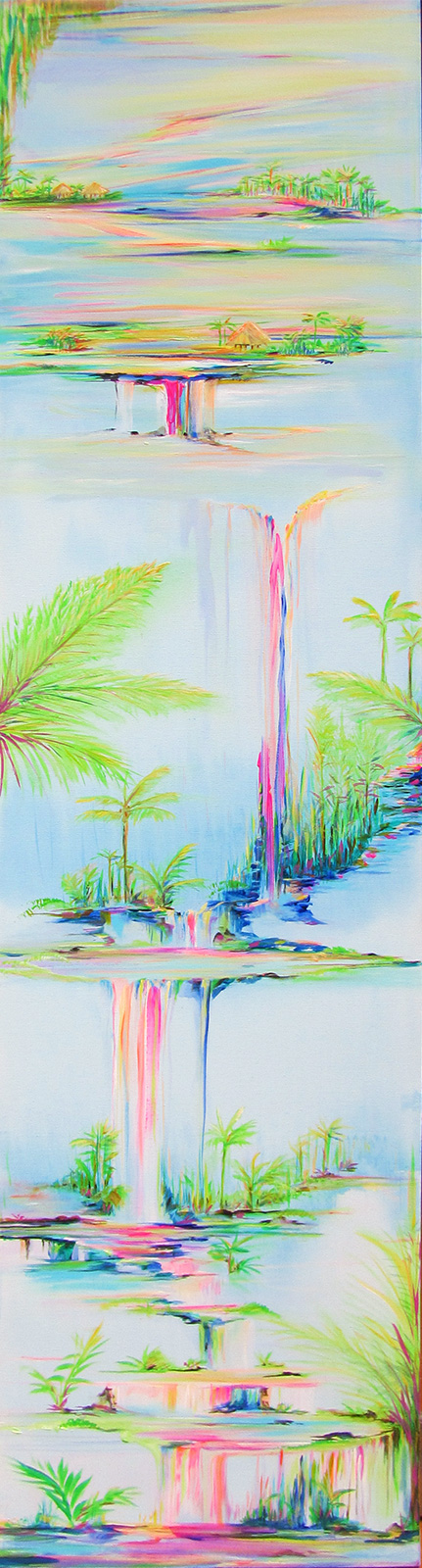 Painting of a long series of tropical scenes with multiple colorful waterfalls