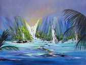 Blue evening lighted mountains with waterfalls to ocean cove, grass hut
