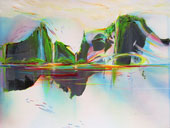 Panoramic painting of a lake and lava-mountains in the lush, green tropics