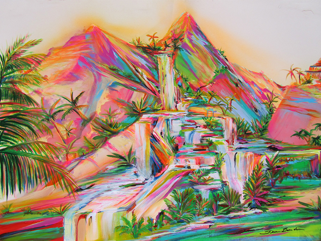 Tropical painting of a brightly-colored landscape at sunset with waterfalls and mountains