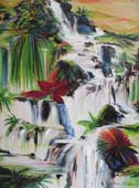 Tropical painting of rushing waterfall through colorful tropical foliage