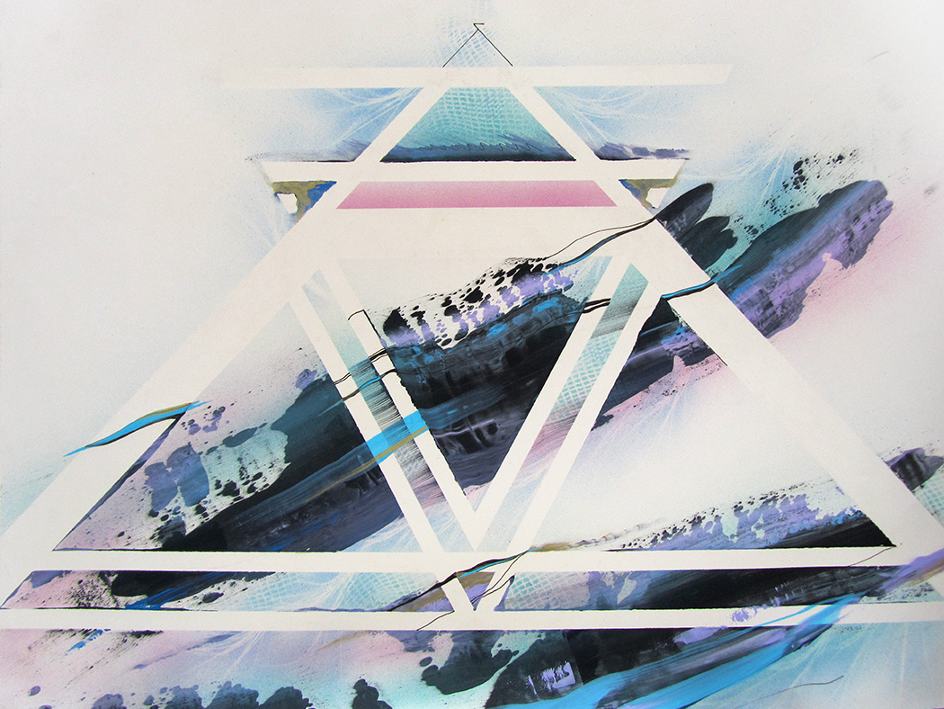 Abstract painting of intertwining triangular shapes with colors flowing in and out, weaving together